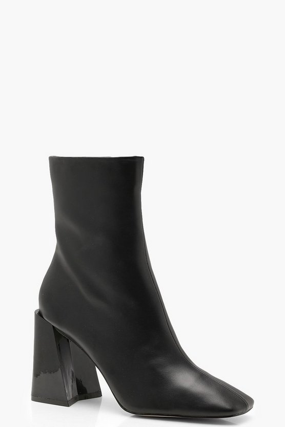 Black Square Toe Interest Heel Sock Boots