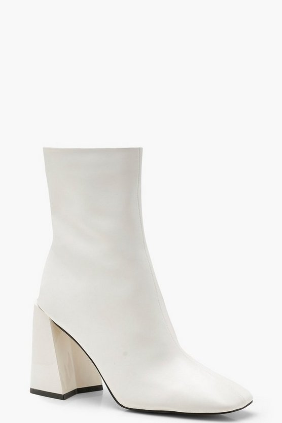 White Square Toe Interest Heel Sock Boots