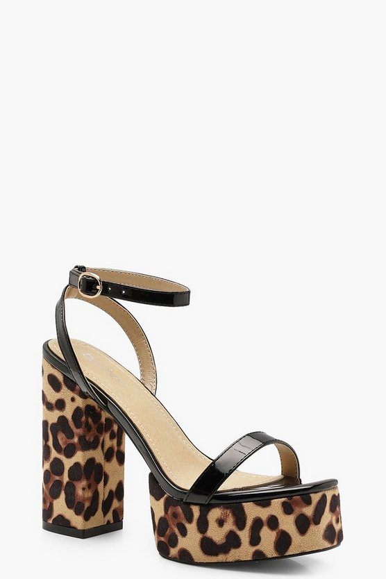 Womens Leopard Print Platform Two Part Heels