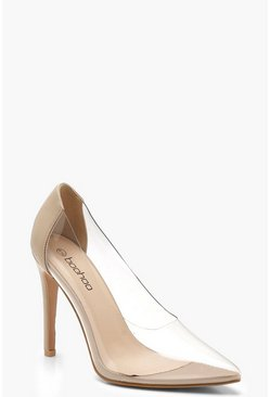 Transparente Pumps, Hautfarben