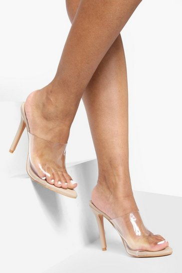 Womens Nude Pointed Toe Clear Mule Heels