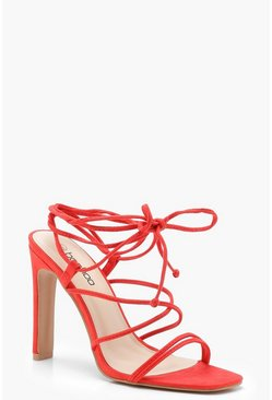 Womens Red Strappy Wrap Heel Sandals