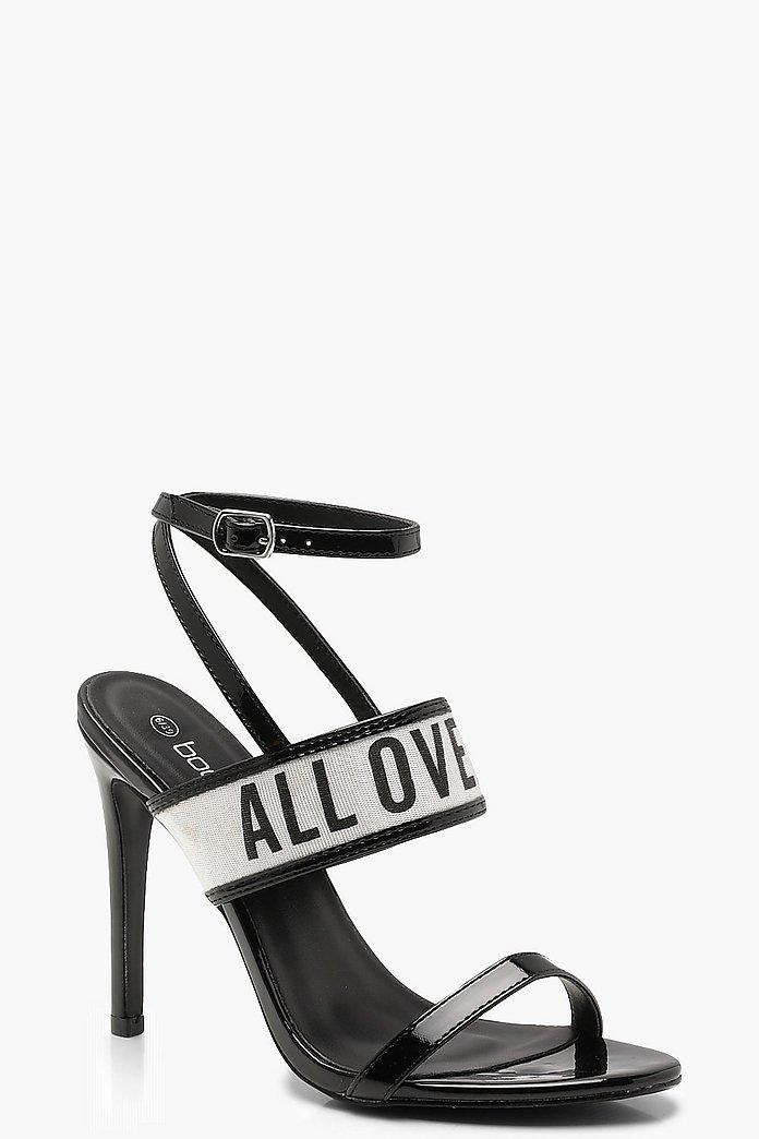 Slogan Strappy Heels | boohoo