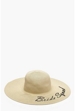 Womens Cream Bride Squad Slogan Straw Floppy Hat