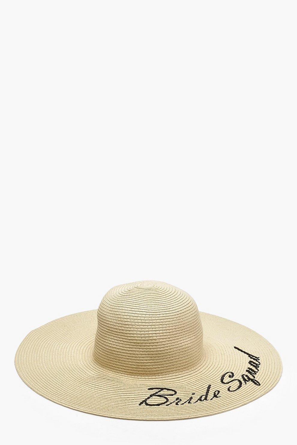 0b9c323b11f72 Bride Squad Slogan Straw Floppy Hat