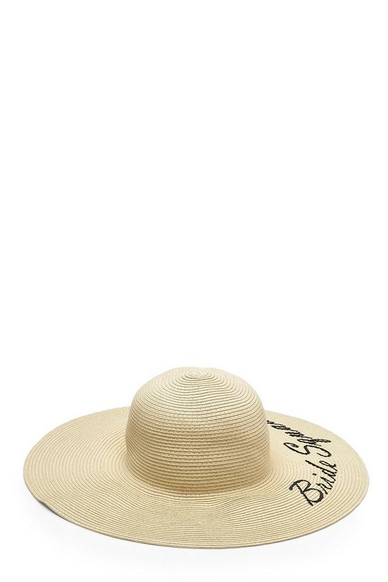 Bride Squad Slogan Straw Floppy Hat
