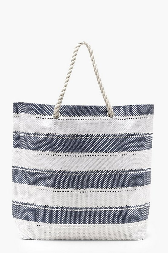 Womens Blue Striped Glitter Rope Handle Beach Bag
