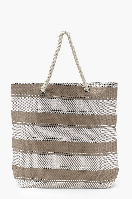 Striped Glitter Rope Handle Beach Bag