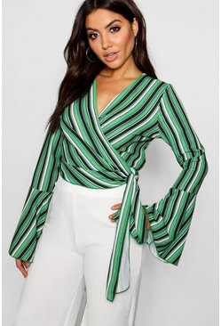 Womens Green Wrap Tie Flute Sleeve Crop