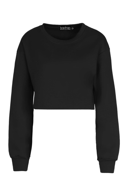 Camiseta estilo sudadera corta básica negro 66xzWA