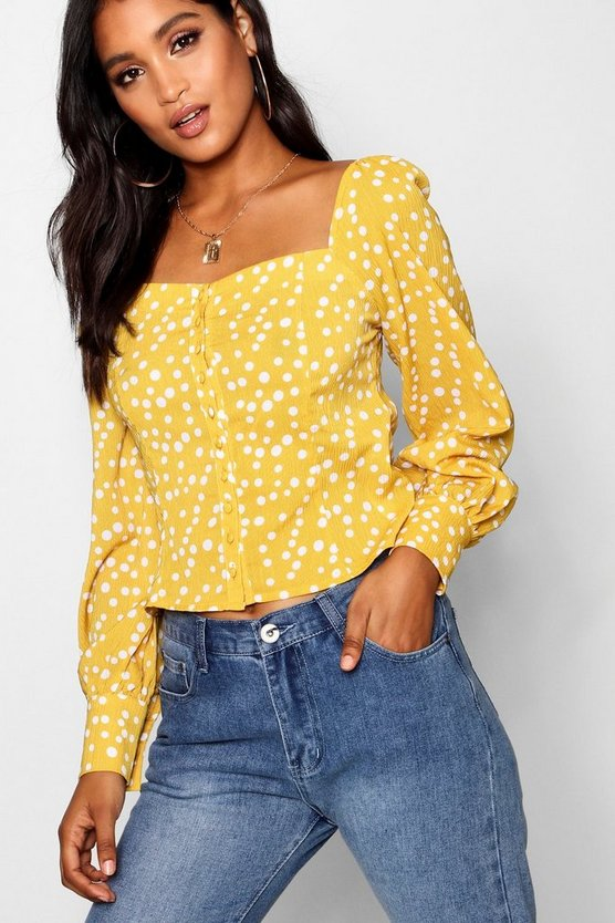 Polka Dot Puff Sleeve Square Longsleeve Top
