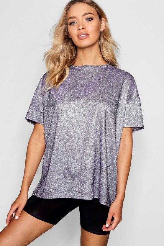 Womens Lilac Metallic Oversized T-Shirt