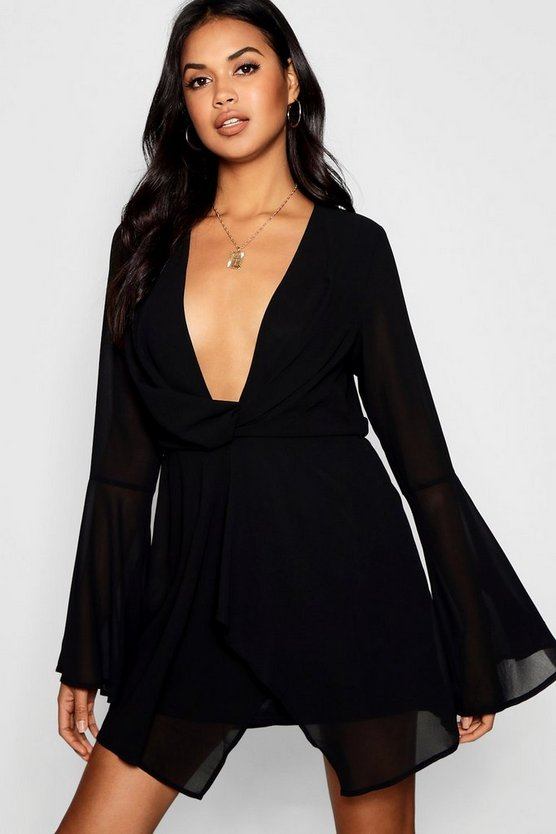 Womens Black Chiffon Flared Sleeve Shift Dress
