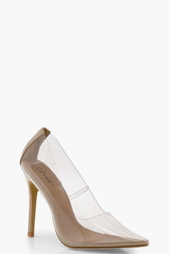 Womens Nude Clear Court Shoes
