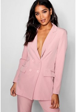 Womens Baby pink Longline Double Breasted Jacket