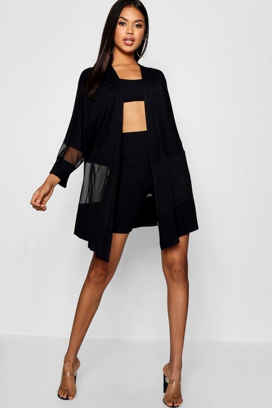 Womens Black Mesh Cut Out Kimono