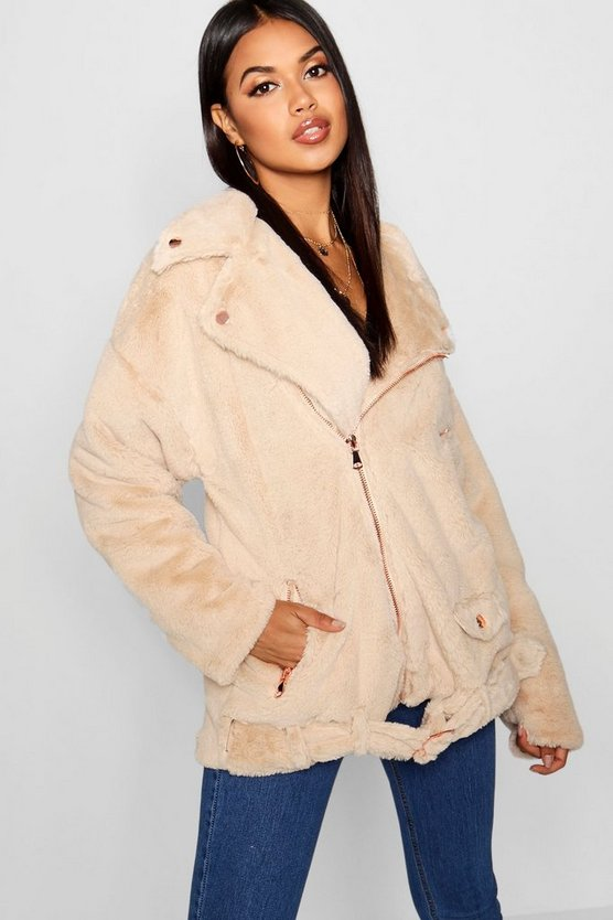 Womens Natural Faux Fur Aviator