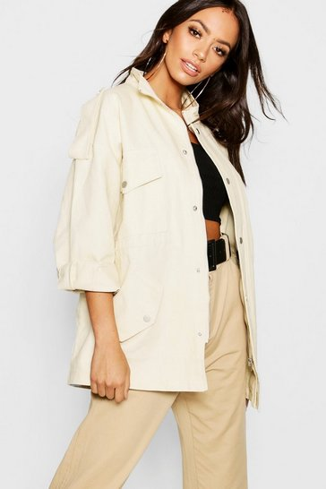 Womens Cream Oversized Utility Jacket