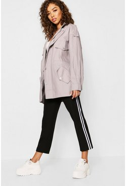 Womens Grey Oversized Utility Jacket