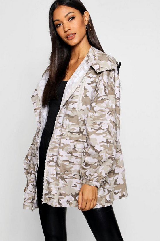 Womens Natural Oversized Camo Utility Jacket