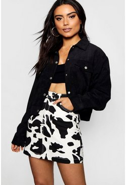 Womens Black Crop Cord Trucker Jacket