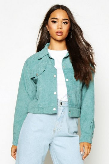 Womens Sage Crop Cord Trucker Jacket