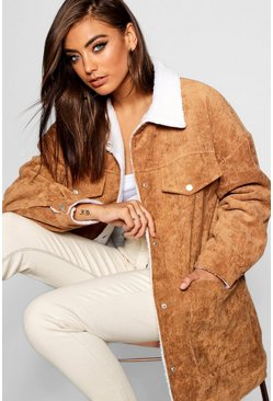 Womens Camel Borg Lined Oversized Cord Trucker Jacket