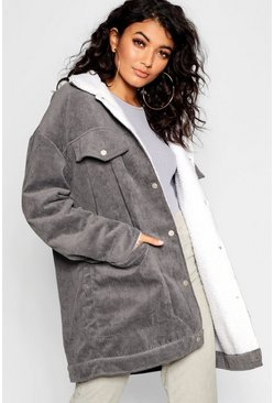 Womens Grey Borg Lined Oversized Cord Trucker Jacket