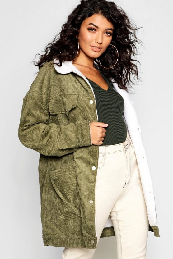 Borg Lined Oversized Cord Trucker Jacket