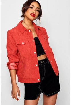 Womens Coral Cord Trucker Jacket