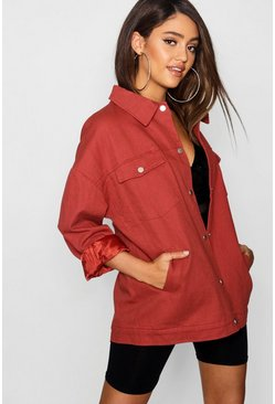 Womens Terracotta Oversized Utility Jacket
