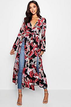Palm Print Flared Sleeve Kimono