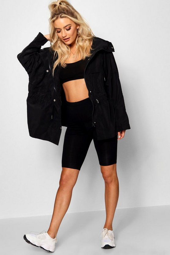 Womens Black Oversized Zip Detail Parka
