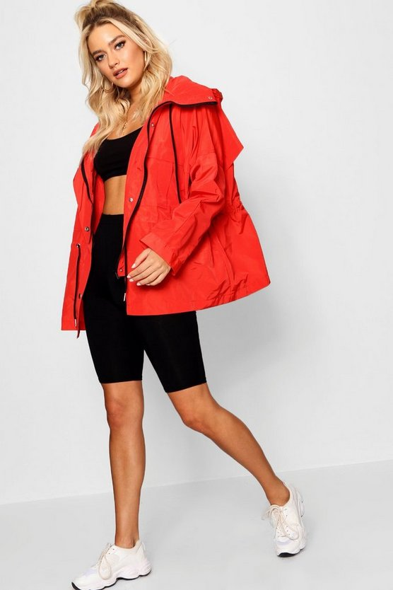 Womens Red Oversized Zip Detail Parka
