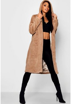 Womens Natural Hooded Faux Fur Coat
