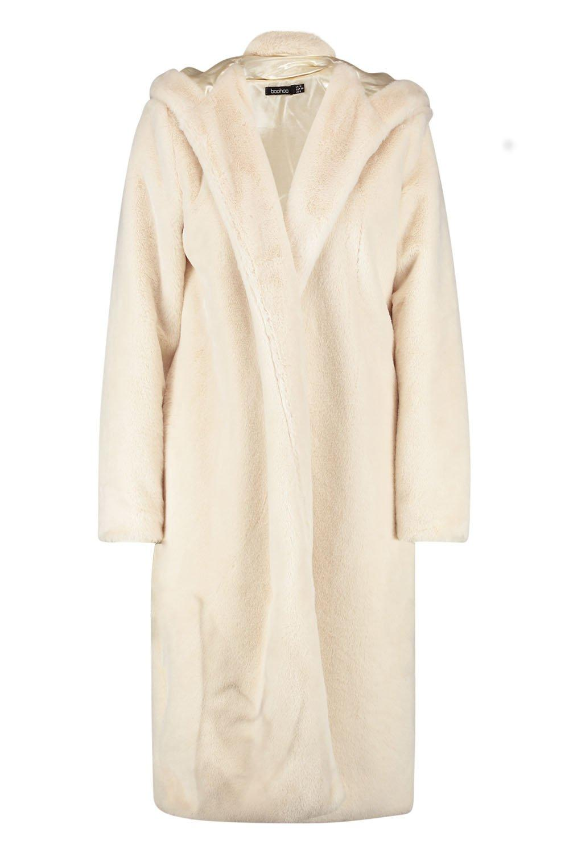capucha Abrigo piel crema sintética de con I1w14v