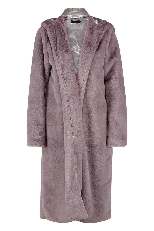 piel con Abrigo capucha de sintética gris vwnqnRZ7p