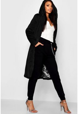 Womens Black Hooded Faux Fur Coat