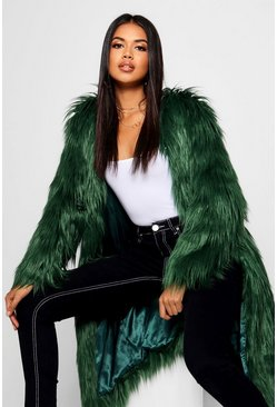 Womens Green Shaggy Faux Fur Coat