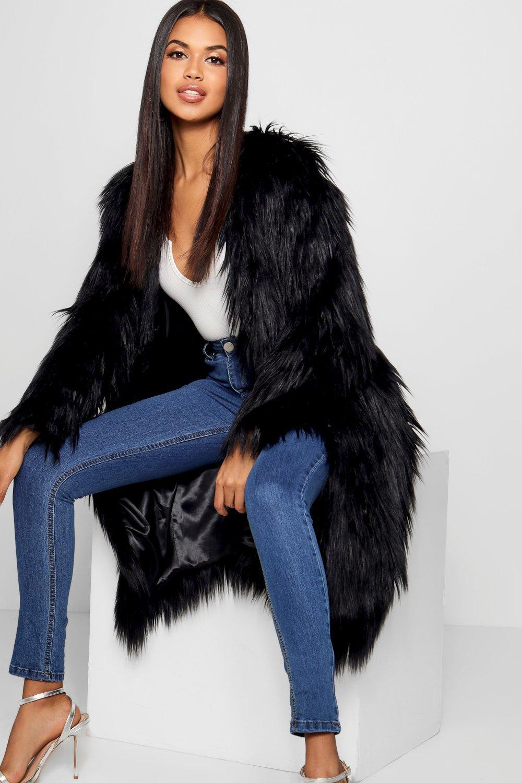 70s Jackets & Hippie Vests, Ponchos Womens Shaggy Faux Fur Coat - black - 6 $136.00 AT vintagedancer.com