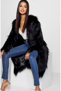 Black Shaggy Faux Fur Coat