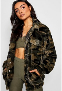 Womens Khaki Camo Faux Fur Trucker