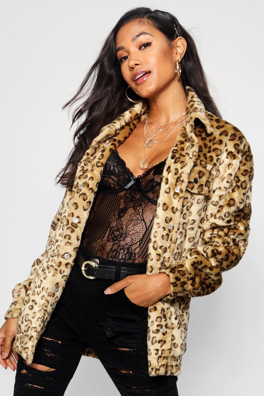 leopardo piel de estilo Chaqueta en camionero sintética natural tOqCwnUYxw