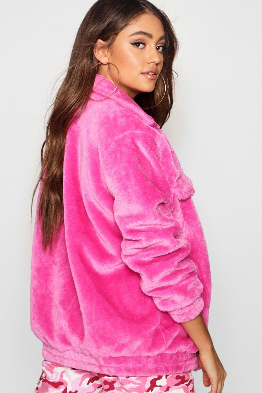 sintética estilo con en rosa Chaqueta forro camionero piel A1Y1qZO