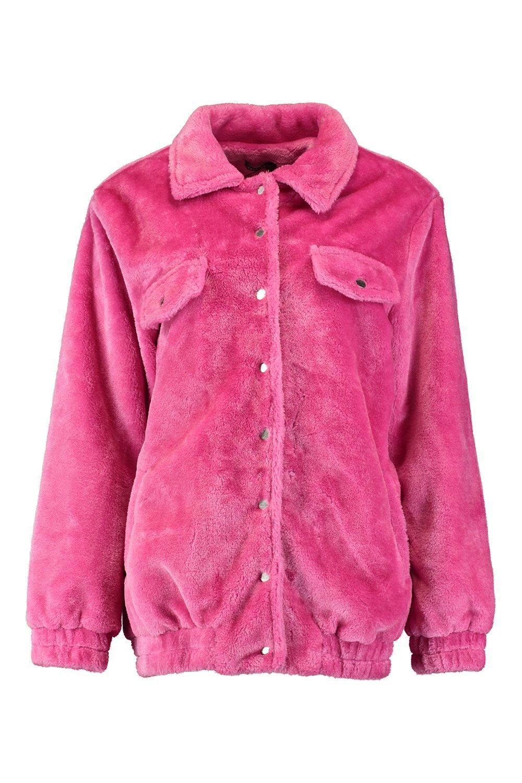 sintética forro en estilo rosa camionero Chaqueta con piel BtOYqwP