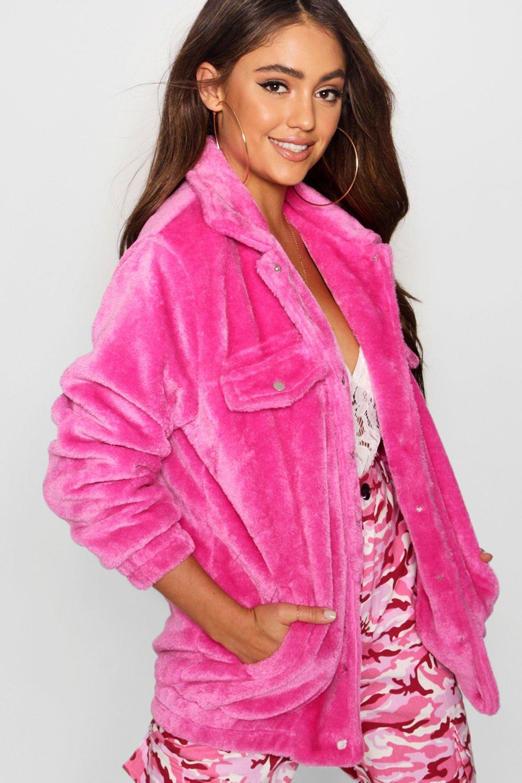 Chaqueta sintética estilo en forro piel con rosa camionero FFraqR6