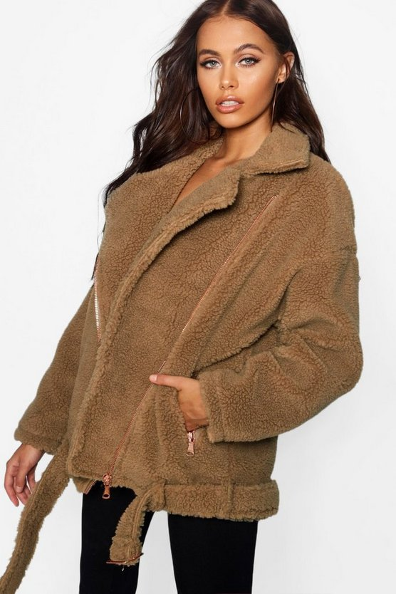 Womens Brown Teddy Faux Fur Biker Jacket
