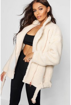 Womens Cream Teddy Faux Fur Biker Jacket