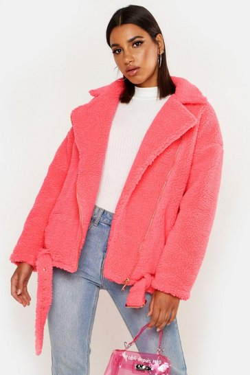 Womens Hot pink Teddy Faux Fur Biker Jacket