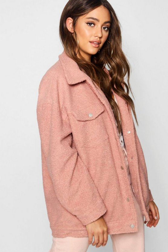 Womens Pink Teddy Faux Fur Trucker Jacket